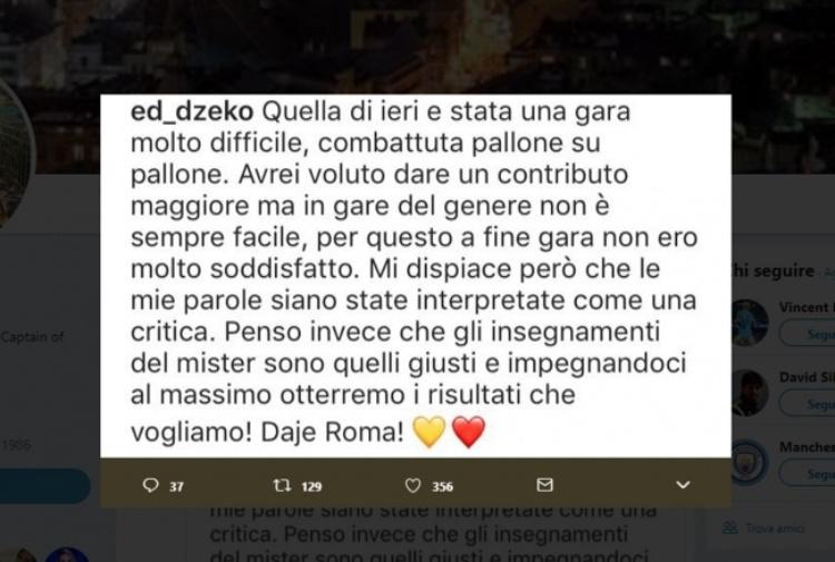 Roma, Dzeko si sfoga: