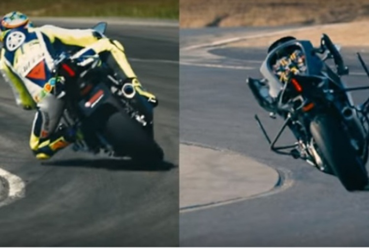 Valentino Rossi vince il duello con Motobot